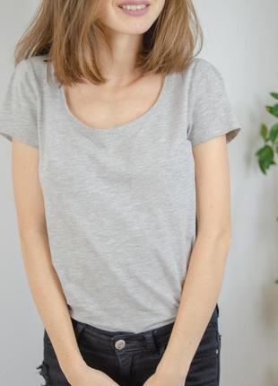 H&m базовая серая хлопковая футболка с круглым вырезом, катонова