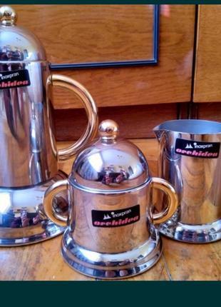 Кофейный сервиз inoxpran 80-х годов «золотая линия»,24k gold, italy.