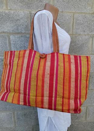 Очень большая разноцветная сумка из натуральной с и кожи