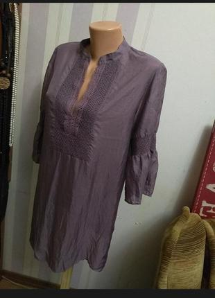 Потрясающая шелковая блузка, пляжная накидка, рукав волан, люкс , эксклюзив, шелк, на м