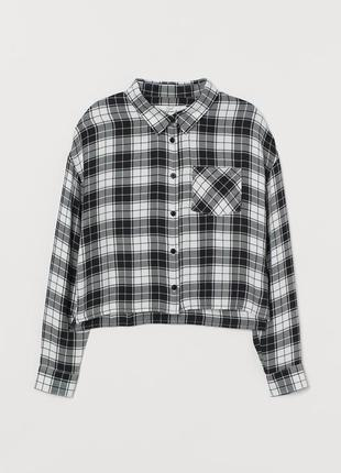10-11/11-12/12-13/13-14/14+ h&m фирменная новая натуральная рубашка блуза в клетку