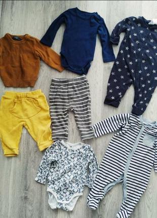 Пакет вещей на мальчика набор боди штани человечки