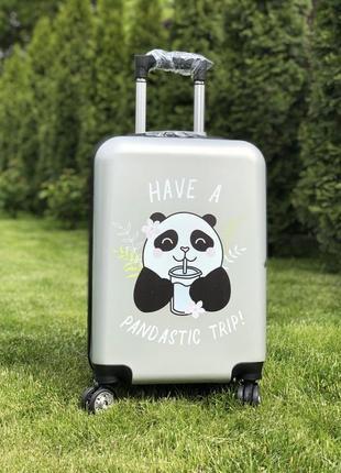 Качество! чемодан пластиковый для ручной клади с пандой с двойными колесами
