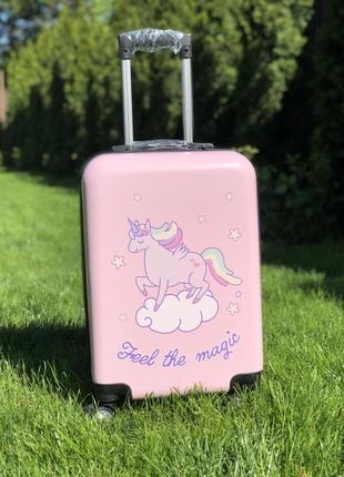 Чемодан пластиковый для ручной клади с единорогом / валіза пластикова з единорогом