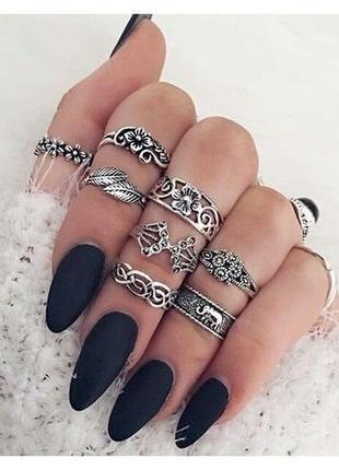 Накладные матовые ногти 🖤 черного цвета 24 шт