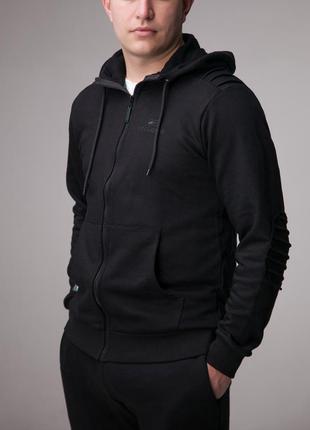 Реглан черный мужской спортивный с капюшоном