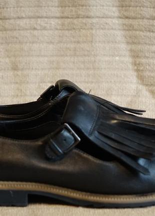 Черные кожаные туфли с длинной бахромой clarks somerset англия 38 р.1 фото
