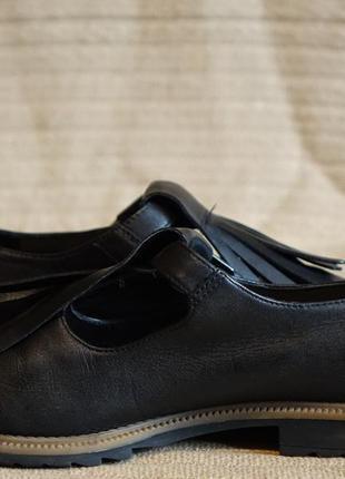 Черные кожаные туфли с длинной бахромой clarks somerset англия 38 р.5 фото