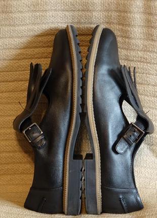 Черные кожаные туфли с длинной бахромой clarks somerset англия 38 р.7 фото