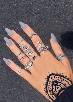 Накладные матовые ногти серого цвета 24 шт