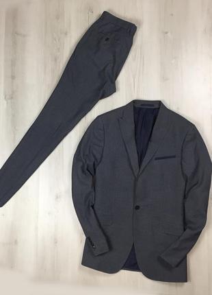 F9 n9 серый костюм moss london с жилеткой брюки пиджак