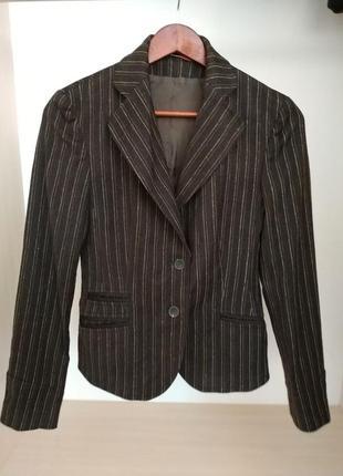 Clothcraft пиджак коричневый в полоску 98% шерсти