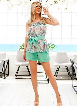 Костюм летний шорты с блузой