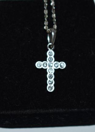 Шикарный миниатюрный кулон подвес крест цирконий серебро 925 проба вес 1,1 грамма