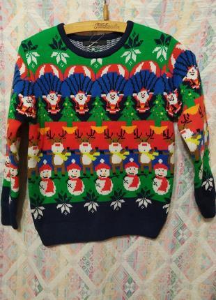 Яркий новогодний свитер кофта санта клаус