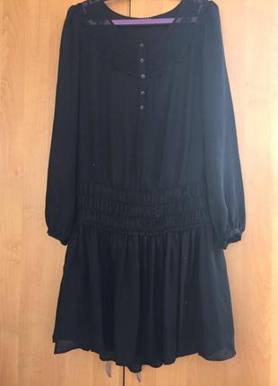 Чёрное шифоновое платье sisley