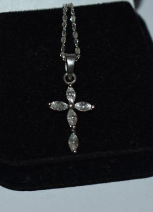 Шикарный миниатюрный кулон подвес крест цирконий серебро 925 проба вес 1,2 грамма