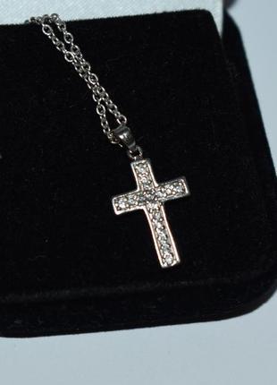 Шикарный миниатюрный кулон подвес крест цирконий серебро 925 проба вес 1,5 грамма
