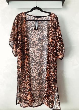 Пляжное кимоно накидка в леопардовый принт boohoo