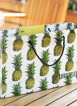 Большой двусторонний летний пакет ананасы