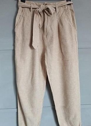 Льняные штаны брюки из натуральной ткани лён высокая талия с поясом и защипами от f&f