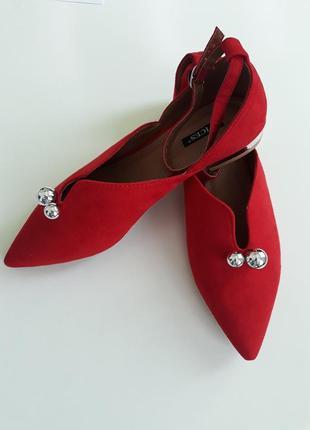Женские стильные красные туфли, балетки с острым носком sale
