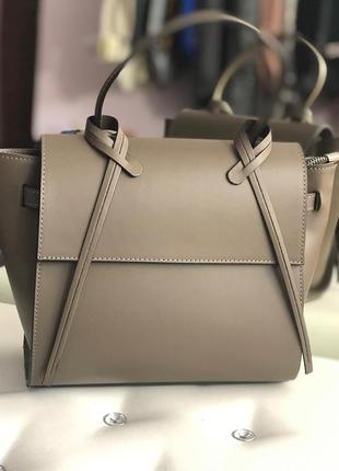 Женская кожаная сумка тауп италия