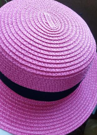 Соломенная шляпа канотье!!! хит лета! шляпка от солнца панамка белая бежевая красная6 фото