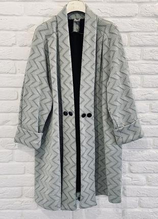 Серое легкое свободное пальто накидка кардиган блайзер манто оверсайз
