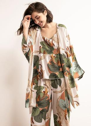Комплект для сна, дома из 3х предметов. пижама женская с цветочным принтом