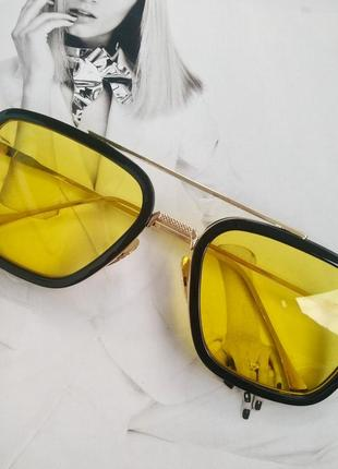 Солнцезащитные очки тони старка жёлтый