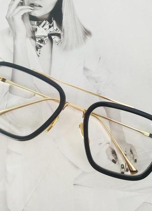 Очки тони старка имиджевые черный+золото