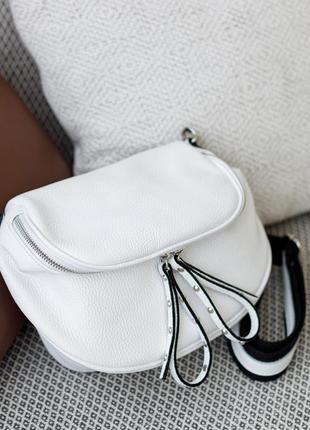 Летняя итальянская белая кожаная сумка в стиле баленсиага, vera pelle италия