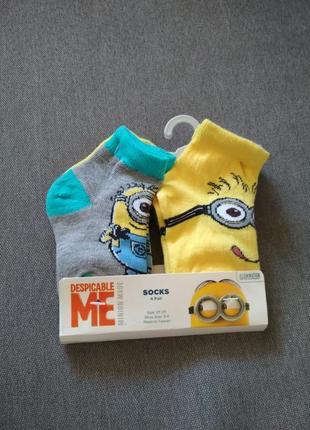Носки детские миньоны сша, набор носков для ребенка 2-3 года – 4 пары