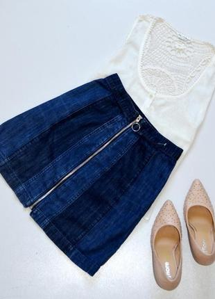 Стильна джинсовая юбка трапеция с молнией