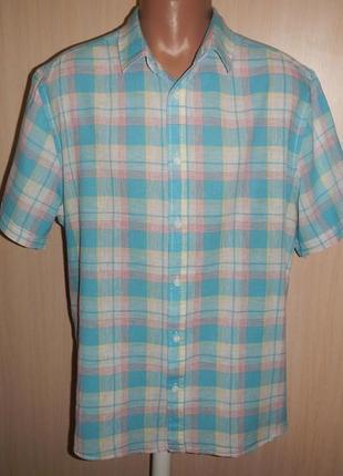 Льняная тенниска рубашка m&co p.xl