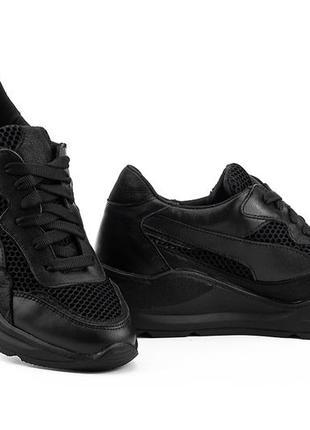 Женские кроссовки кожаные летние черные