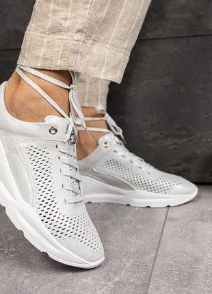 Серебристые кожаные кроссовки женские alex benz