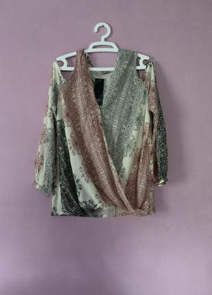 Стильная блуза стиль бохо на запах красивый узор