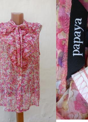 Невесомая шифоновая розовая блуза,топ в цветочный принт 💐 papaya с рюшем.
