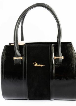 Женская лаковая классическая сумка с натуральным замшем м62-32