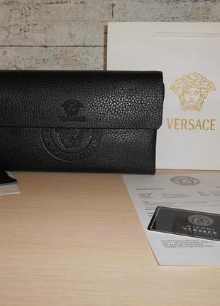 Мужская сумка клатч барсетка versace, кожа, италия 9027