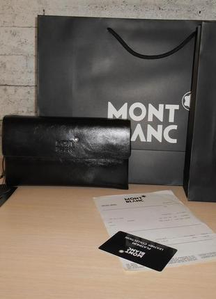 Клатч-сумка мужская барсетка mont blanc, кожа, италия 9001