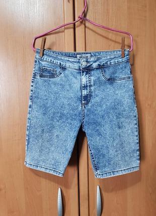 """Стильные джинсовые удлинённые шорты, джинсовые шорты, укороченные бриджи, """"велосипедки"""""""