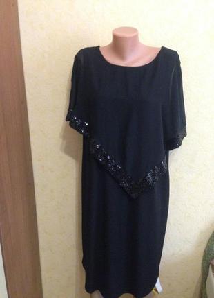Платье вечернее прямого покроя с шифоновой пелериной -20 размер от- nihtingales
