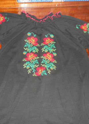 Черная вышиванка с маками