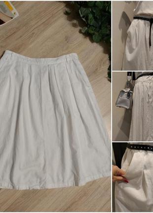 Льняная белая пышная юбка трапеция миди с карманами