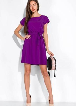 Однотонное платье с поясом 120pse014