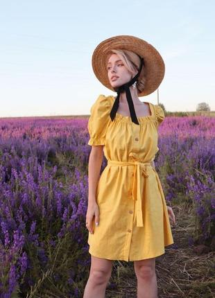 Платье желтое натуральный лён