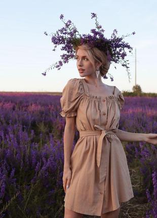 Платье бежевое натуральный лён